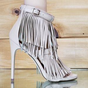High heel fringe sandal shoe nude beige wild rose